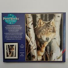 """Wolf In Trees Paint Works Paint by Number Kit 91254 Dimensions 11"""" x 14"""" Animal"""