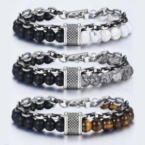 Natural Map Stone Men's Beaded Bracelet women Stainless Steel Bracelets Jewelry