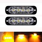 2X 12/24V 4 LED Bar Car Truck Flash AMBER Emergency Recovery Strobe Grille Light