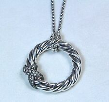 David Yurman Cable Circle Pendant Necklace Diamond Sterling Silver $1150 New