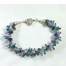 Designer Kumihimo Bracelet-Multi-Colors-Hand-Forged End Caps