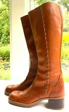 Women's Vintage Leather 1960's Boots w/ Braid, Western Revival, Mint Size 6