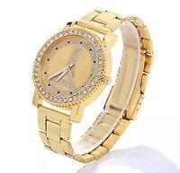 Womens, Ladies, Girls Crystal Bracelet Wrist Watch Gold Designer Style Watches