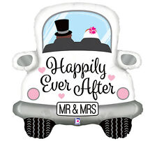 "Happily Ever After 31"" Foil Car Balloon Black Cursive Wedding Marriage Mr. Mrs."