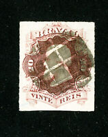 Brazil Stamps # 62 Jumbo 4 Margins Used Scott Value $30.00