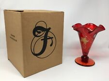 Fenton Art Glass Ruby Red Hand Painted Vase- New With Box! #5885 3X
