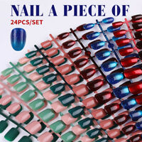 24Pcs Full Cover Fake Nails Reusable Round Head False Nail Tips Manicure Tool
