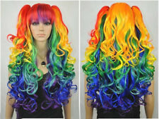 Multicolor Blue Green Clip on 2 Ponytails Curly Cosplay Women Hair Wig Wigs +Cap