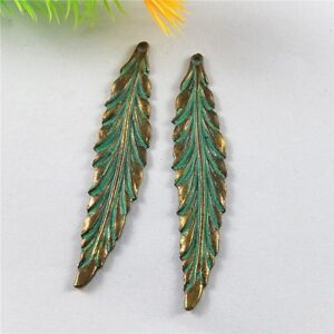 20pcs Green Bronze Long Leaves Shaped Alloy Crafts Jewelry Charms Pendants 52336