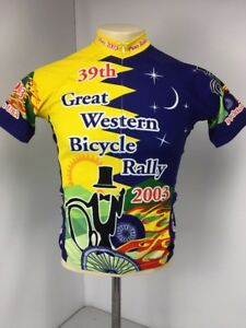 GREAT WESTERN BICYCLE RALLY 2003 Yellow Zip Cycling Jersey 39th Annual Sz S
