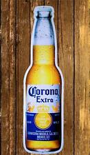 CORONA EXTRA BEER BOTTLE CERVEZA EMBOSSED METAL TIN 22x6 ADVERTISING WALL SIGN