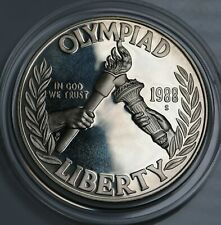 1988 US $1 Dollar Seoul Olympiad Silver Proof Coin KM# 222 In Capsule Of Issue