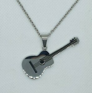 Stainless Steel Polished Guitar Necklace Men's Ladies