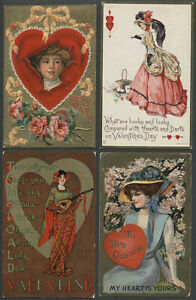 Lot of Four c.1908-10 VALENTINE POSTCARDS Beautiful Women JAMES E. PITTS, More