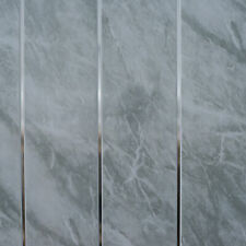 Grey Marble & Chrome Bathroom Cladding Panels PVC Kitchen Ceiling Shower Wall