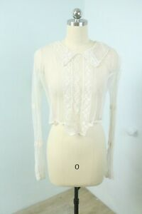 Vintage Edwardian Sheer Tea Dress Blouse Embroidered French Net Lace S/M