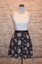 Modcloth Moon Collection dress NWOT S BLack Ivory embroidered floral A-line