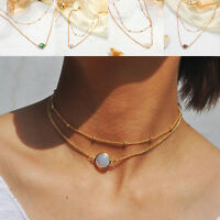 Women Jewelry Charm Natural Stone Crystal Opal Pendant Choker Necklace Hot *