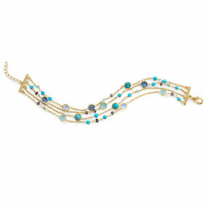 Four-Layer Chain Bracelet Multiple Gemstones Gold-plated Sterling Silver