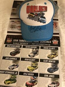 2018 Darlington Throwback HAT NEW Signed Autograph By Kevin Harvick + Poster