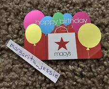 MACY'S FOIL GIFT CARD HAPPY BIRTHDAY BALLOONS NO VALUE COLLECTIBLE NEW