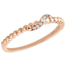 Stackable Right Hand Ring 1/20 Ct. 10K Rose Gold Graduated Diamond Designer