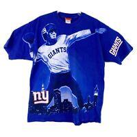 Vintage Reebok Mens Sz L Blue New York Giants Quarterback All Over Print Shirt
