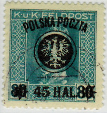 Poland 1918; Lublin  2nd (second) issue; used Fischer #25 expertized  (bl)