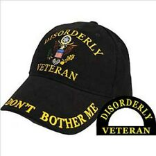 Disorderly Veteran, Black Cloth, High Quality Ball Cap.