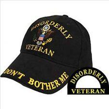 Disorderly Veteran, Black Cloth, High Quality Ball Cap.