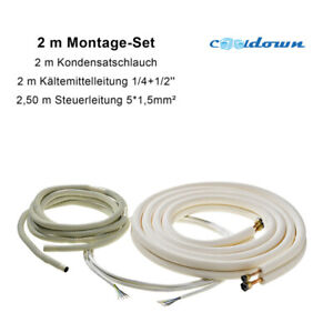 """2 m Kältemittelleitung 1/4""""+1/2"""" Montage SET Kupferrohr Gebördelt Klima Rohr TOP"""