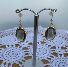 Oval Earrings Glass Facet Bead in Metal Frame Gold Black Diamond Drop Hook Wire