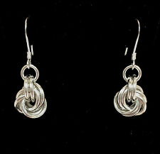Handmade Chainmaille Sterling Silver Knot Earrings. 1 Inch.