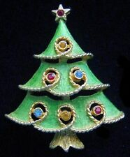 Vintage 60's JJ Green Enamel & Rhinestone CHRISTMAS TREE PIN/Brooch~Jonette,FJT