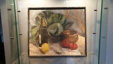 ancien tableau nature morte huile sur toile aux couteaux signer