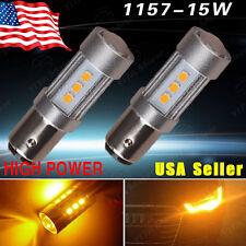 2x Amber/Yellow 1157 High Power 15W LED Light Bulbs Turn Signal Blinker Parking