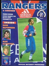 Rangers v Airdrie League Programme February 1993