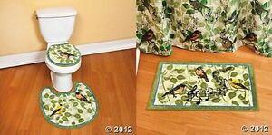 Green Blue Songbird Bird Musical Note Bath Bathroom Rug Mat Decor