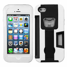 For Apple iPhone 5 5S SE KICKSTAND Case Bottle Opener Card Holder Black White