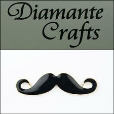3D Moustache Gold Coloured Alloy Black Enamel DIY Mobile Phone Case Deco 2013HZ