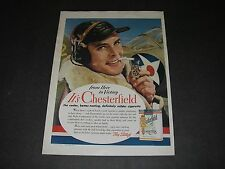 Print Ad 1942 WWll CIGARETTE Chesterfield From Here to Victory Pilot Airplane.