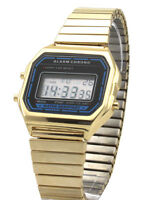 Classic Watch Digital LCD Display Retro 80s Vintage Alarm Expandable Bracelet
