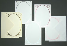 5  A5  'FLOWERS' FOILED OVAL BORDER CARD BLANKS & C5 ENVELOPES  5 COLOURS