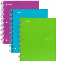 """Mead 06210 Notebook, 3-Subject/4-Pocket, 150 Shts, 11""""x8-1/2"""", Assorted"""