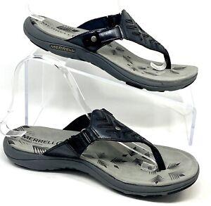 MERRELL Women's leather Adhera Thong Sandals Black select Grip  sz 9 EUC J55272