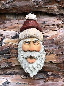 Santa Wood Carving Wizard Big Ooak Red Hat Elf Scott Longpre Originals