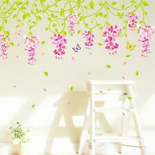 Romantic Wedding Bedroom Decor Decal Wisteria Flower Lively Wall Sticker Sheet