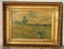 Tableau Ancien Cadre Empire Doré à la Feuille avec Reproduction de Claude Monet