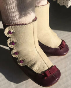 Vtg Tagged Lenore Dress Shoes Doll Victorian High Top Button Up Purple White