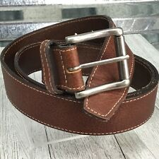 Mens Brown Pebbled Leather Silver Belt Buckle Size 44